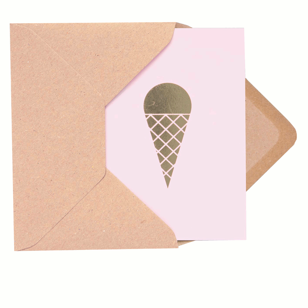 Product image of Ola Ice cream cone card in Pink and Brass
