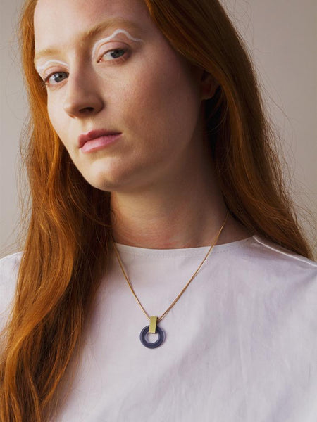 Orbit Necklace - Brass & Navy by Wolf & Moon