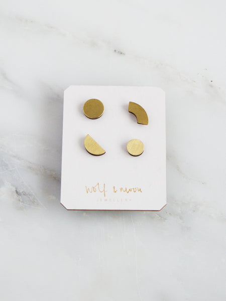Set of 4 Phase studs in Brass - by Wolf & Moon