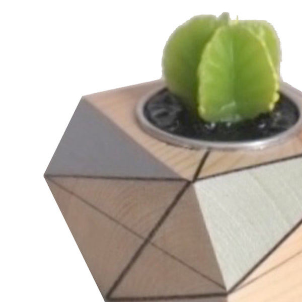 Close up image of polymorphics single cactus tealight holder in black, grey and mint