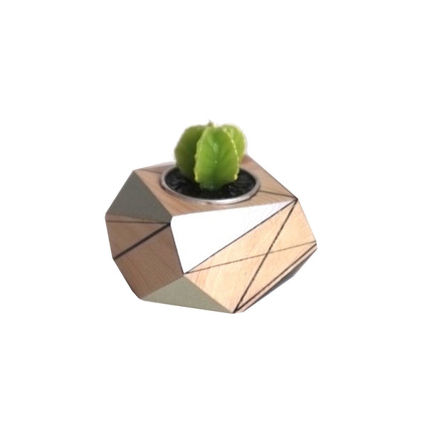 Image of polymorphics single cactus tealight holder in black, grey and mint