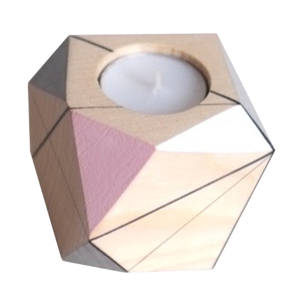Close up image of medium candle holder by Polymorphics in pink, white and grey