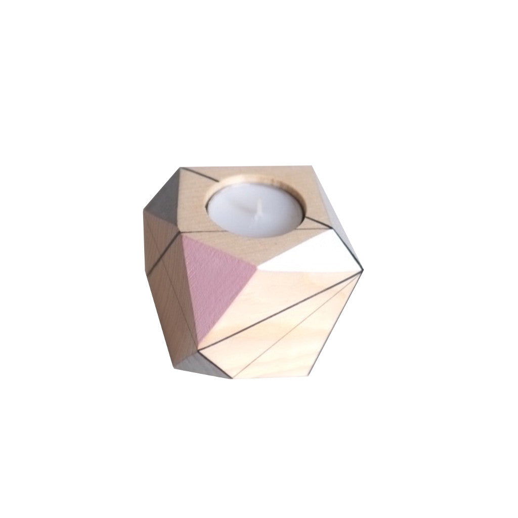 Image of medium candle holder by Polymorphics in pink, white and grey