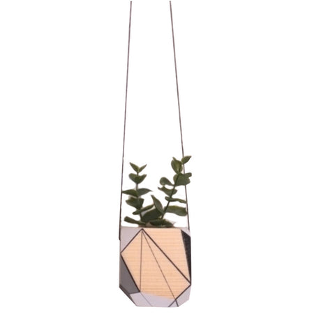 Medium hanging planter by Polymorphics shown in black, grey and white