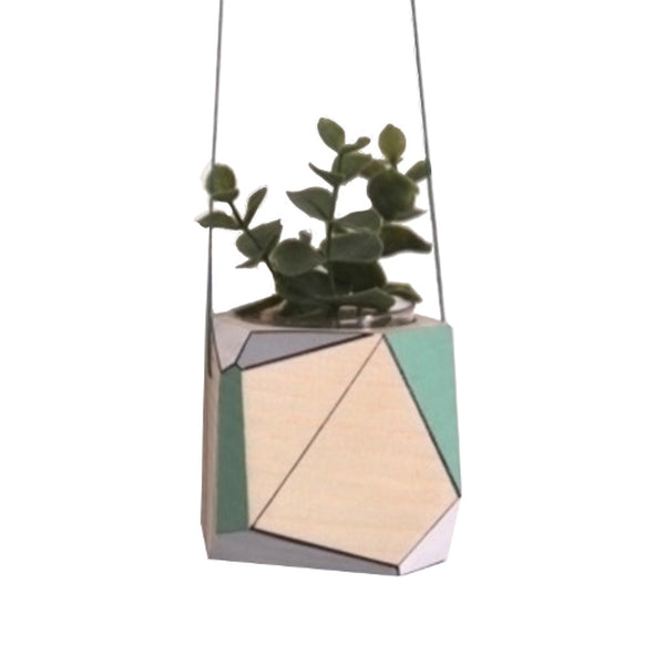 Close up of Medium hanging planter by Polymorphics shown in green, grey and white