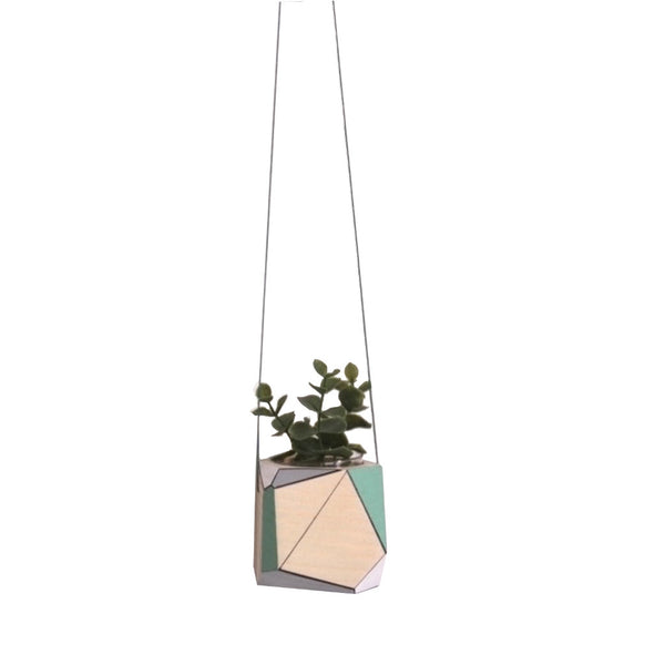 Medium hanging planter by Polymorphics shown in green, grey and white