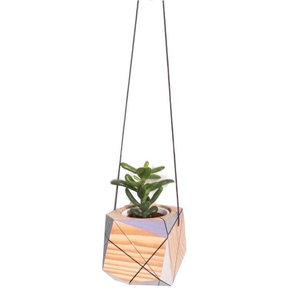 Medium hanging planter by Polymorphics shown in lilac, grey and white
