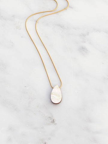 Raindrop necklace in Mother of Pearl by Wolf & Moon