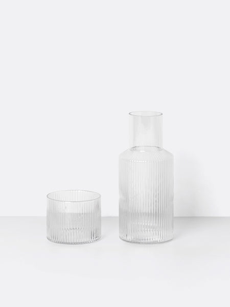 Ripple carafe and matching glass set by ferm Living