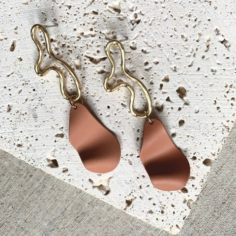 Iris Statement Drop Earrings in Rust & Gold