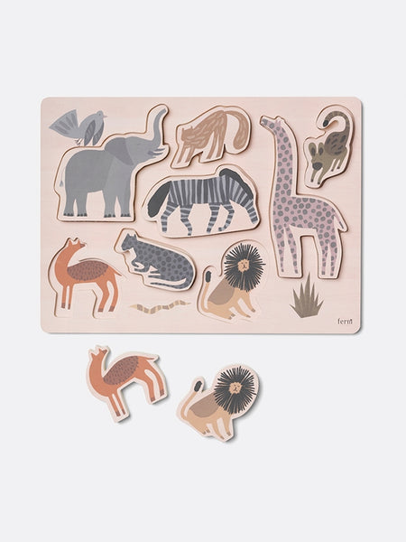 Wooden Safari Puzzle with Animal Shapes by ferm Living Kids