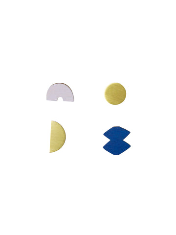 Set of 4 Sculpture studs in Lavender & Cobalt Blue - by Wolf & Moon