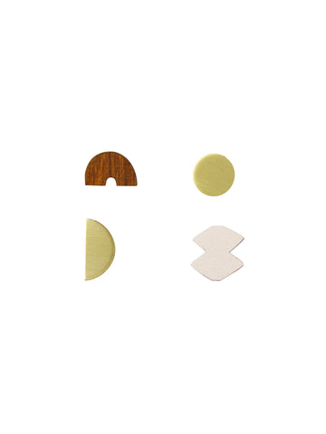 Set of 4 Sculpture studs in Wood & Ecru - by Wolf & Moon