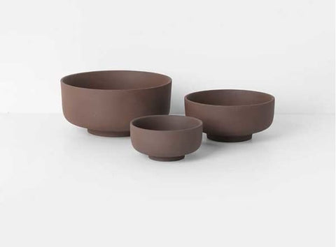 Set of 3 Sekki serving bowls - Rust - by ferm Living