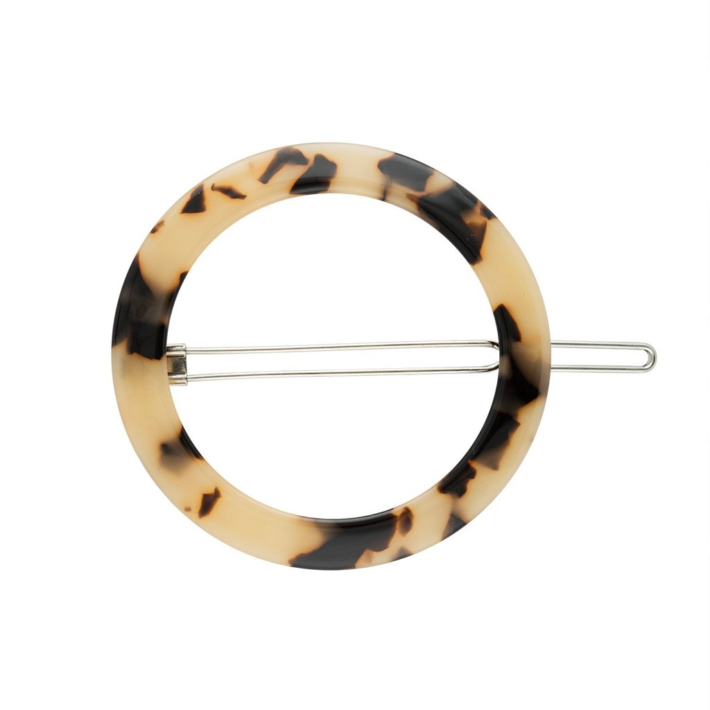 Small circular hair clip in Blonde Tortoise by Machete