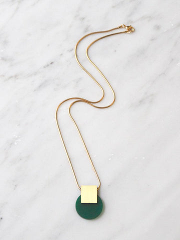 Sol necklace in Green & Brass by Wolf & Moon