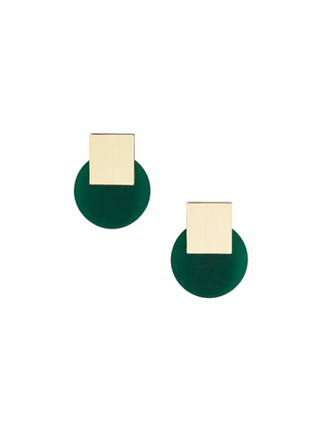 Sol studs earrings in Dark Green & Brass by Wolf & Moon
