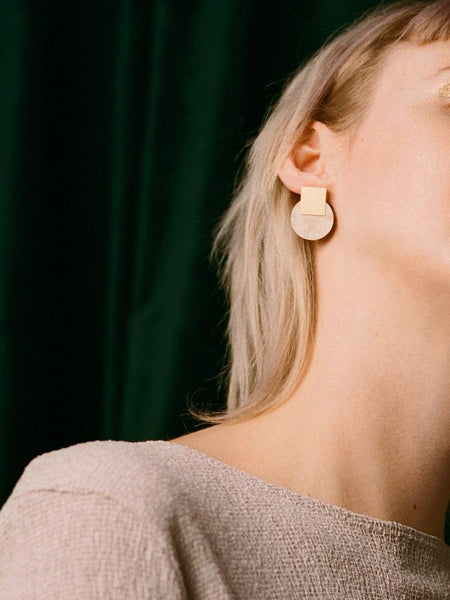 Sol studs earrings in Mother of Pearl & Brass by Wolf & Moon