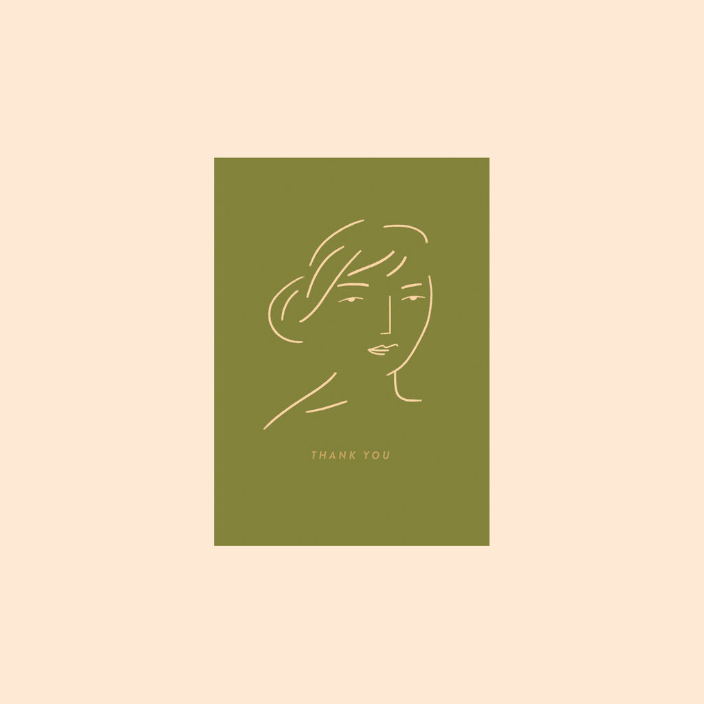 Thank You Face Card in Green by Hattie Maud