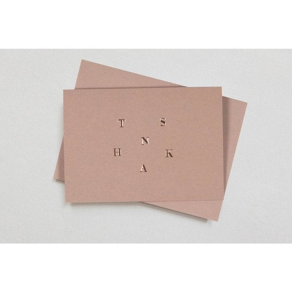 Thanks Card Print in Clay Pink/Rose Gold from Conscious Collection by ola