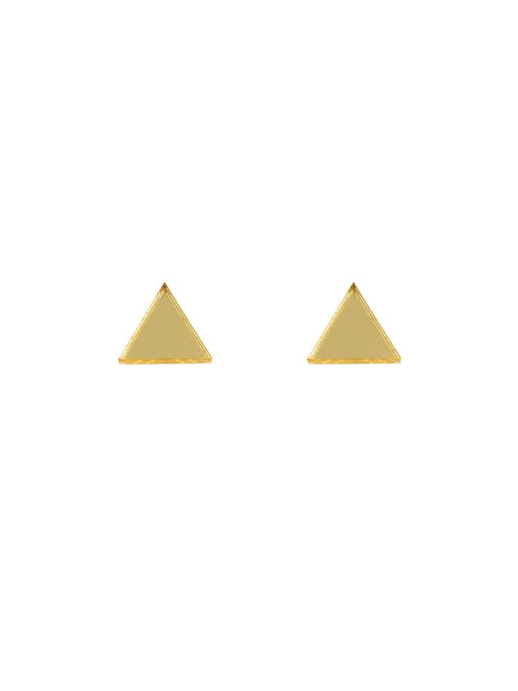 Triangle studs in Gold Mirror by Wolf & Moon