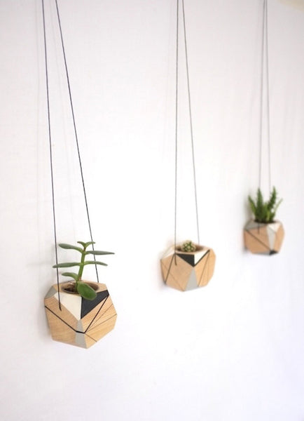 Group of three Medium hanging planters by Polymorphics