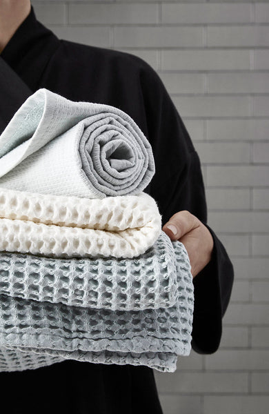 Big Waffle Hand Towel in Pale Rose by The Organic Company