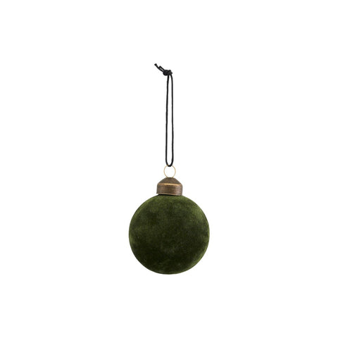 Christmas Bauble in Green - Flock - by House Doctor