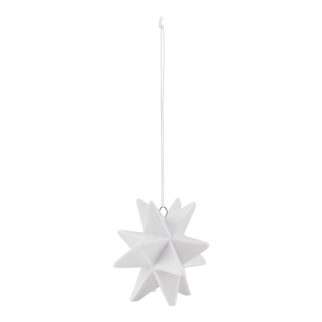 Ceramic White Star Christmas decoration - small - by House Doctor