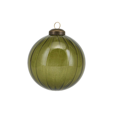 Green coloured glass bauble - Cleary - by House Doctor