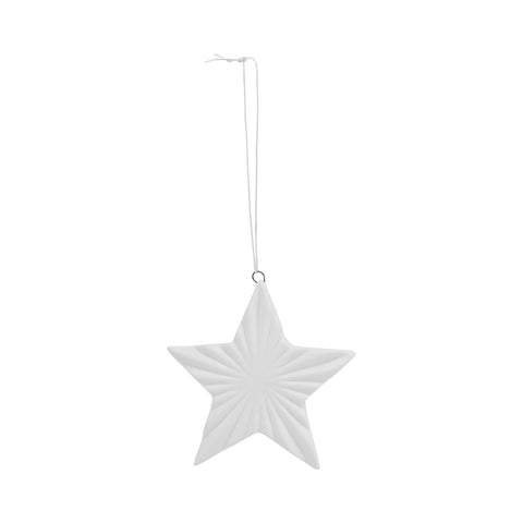 Ceramic Flat Star White Christmas decoration - small - by House Doctor