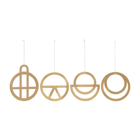 Set of 4 large minimal gold Christmas decorations - by House Doctor