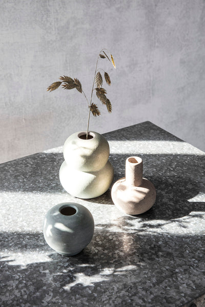 Mini Bobbles Vase in Light Grey / Green by House Doctor