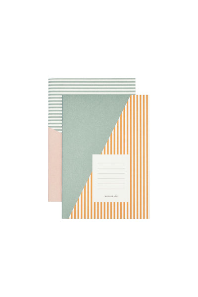 Stripes notebook - set of 2 - A5 with 60 pages - Monograph by House Doctor