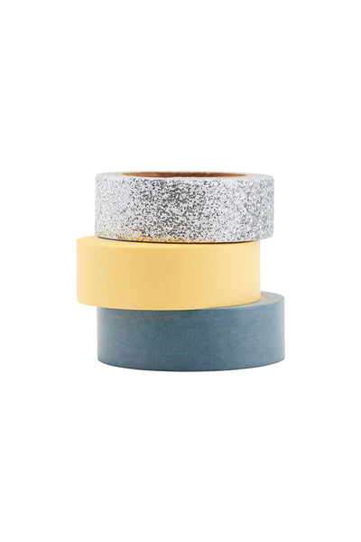 Washi Tape - Set of 3 Silver Glitter, Yellow, Blue by Monograph