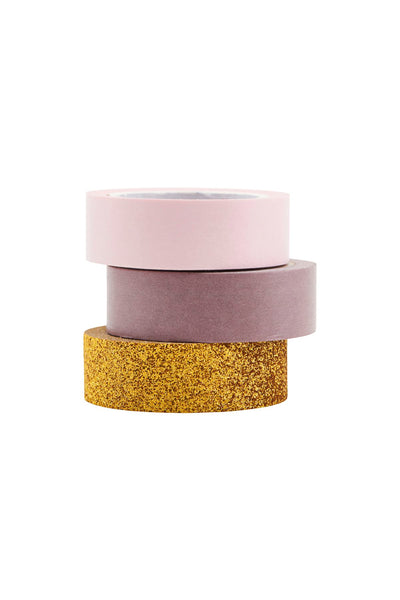 Washi Tape - Set of 3 Gold Glitter, Pink, Lavender by Monograph