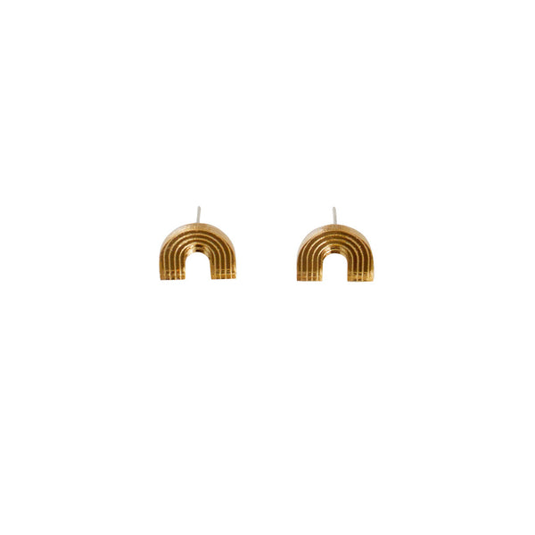 Image of gold Curve stud earrings by Wolf & Moon