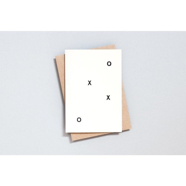 Foil Blocked Card, XOXO Print in Natural/Black by ola