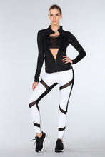 Load image into Gallery viewer, black/white mesh legging-t-blurt.com