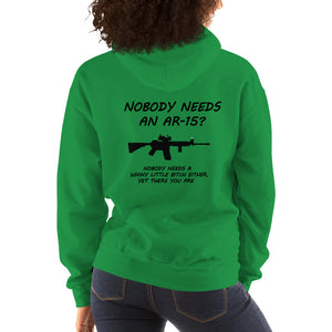 "Womens Gun Shirt, ""AR-15"" Heavy Hooded Sweatshirt - t-blurt.com"