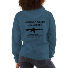 "Load image into Gallery viewer, Womens Gun Shirt, ""AR-15"" Heavy Hooded Sweatshirt - t-blurt.com"