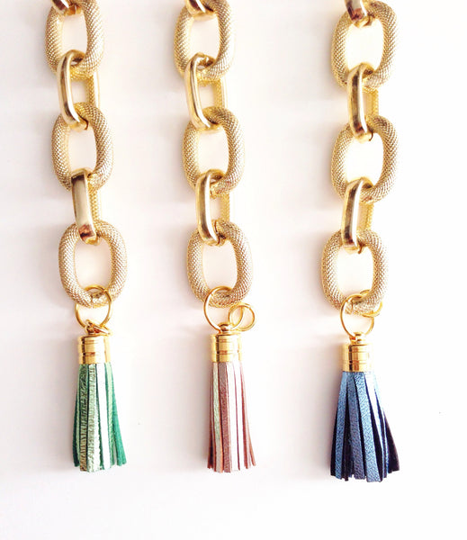 METALLIC LEATHER TASSEL