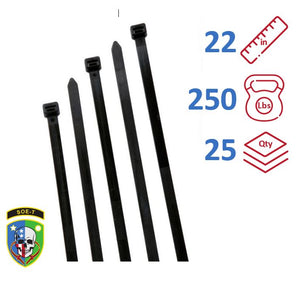 SOE-T 22 Inch 250 lb Cable Ties - Extra Heavy Duty Industrial/Home Use - Bag of 25 - UV Black - Zip Ties - S22EH0XXV
