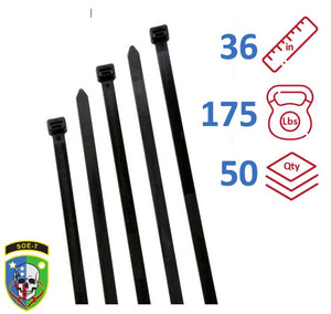 "SOE-T 36"" Inch 175 Lb Cable Ties Heavy Duty Bag of 50 - S36H0L"