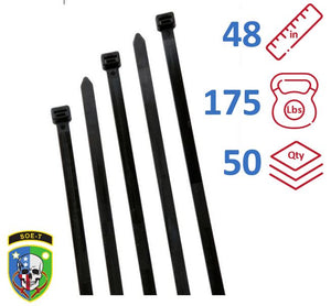 "SOE-T 48"" Inch Cable Ties Heavy Duty Bag of 50 - S48H0L"