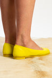 ballerina flat in neon yellow dye by guidi