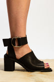 black leather open toe heel mule strap