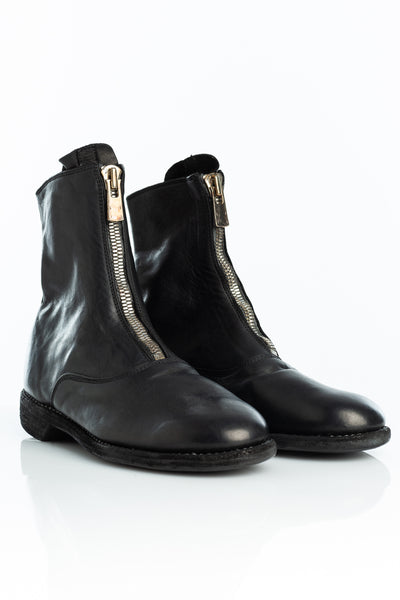 GUIDI 210 Front Zip Black Boot