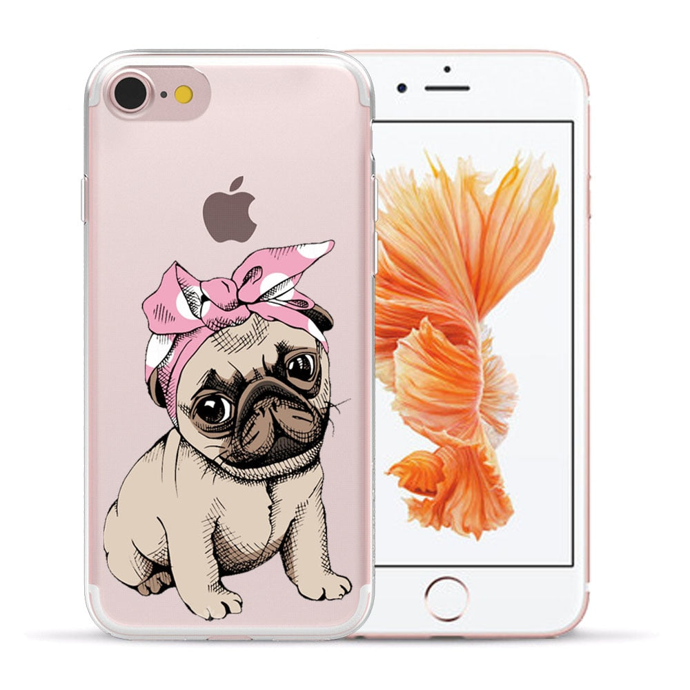 Cute Pug dog Cartoon Soft TPU Silicone Phone Back Case Cover For Apple iPhone 8 7 6 6S Plus 5S 5 SE X XS Max XR Shell Capa Coque