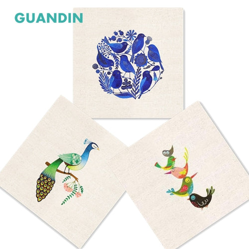 GUANDIN,Hand Dyed Cotton Linen Fabric Bird Series Sewing&Quilting Patchwork Table Mat/Mouse Pad/20*20cm/Pillow Decoration